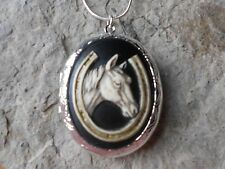 HORSE AND GOLDEN HORSESHOE CAMEO (HAND PAINTED) LOCKET - silver plated - LUCKY