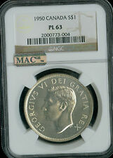 1950 CANADA $1 DOLLAR NGC MAC PL 63 PQ VERY RARE 500 MINTED SPOTLESS *