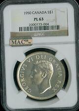 1950 CANADA $1 DOLLAR NGC MAC PL 63 PQ VERY RARE 500 MINTED SPOTLESS *