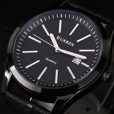 CURREN Black Leather Band Mens Army Military Sports Date Dial Quartz Wrist Watch