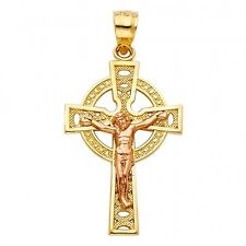 14K yellow gold Celtic crucifix EJCR28222