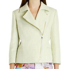 Ted Baker Pale Green Cropped Boucle Biker Jacket Size 4, US Size 10