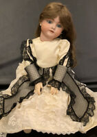 "Antique 27"" German Kley Hahn Walkure Bisque Doll 16 Germany 14 1/2 Teeth & Gown"