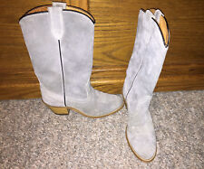Vintage Wolverine Gray Suede Leather SZ 5.5 N Cowboy BOOTS heel Womens Girls
