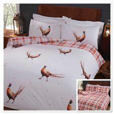 Rapport Pheasants Birds Novelty Checked Reversible Duvet Cover Bedding Set