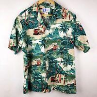 Vintage RJC Hawaii Size XL Hawaiian Shirt Surf Board Palm Tree Woody Car Aloha