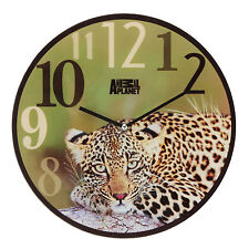 Animal Planet Leopard Glass Wall Clock - Green & Yellow Clock