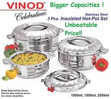 Stainless Steel Hot Cold Food Insulated Casserole Double Wall Hot Pot Set Of 3