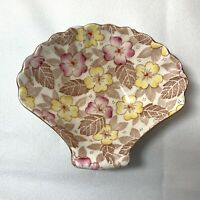 ROYAL WINTON Scallop Shell CHINTZ Dish by Grimwades England Yellow Pink Brown