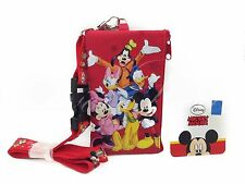 Disney Mickey & Friends ID Holder Lanyards with Detachable Coin Purse - Red