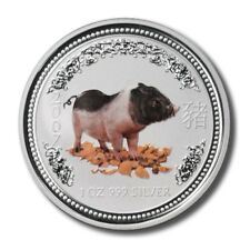 Australia Year of the Pig $1 2007 1 Oz .999 Fine Silver Crown Color
