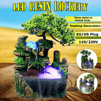 LED Lights Resin Rockery Garden Water Fountain Element Home Office Desktop Decor
