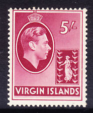 VIRGIN ISLAND GVI 1938 SG119 5/- carmine - chalky paper - mounted mint. Cat £70