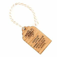 x1 Personalised Engraved Wooden Happy Birthday Vintage Oak Gift Tag With Twine