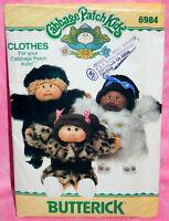 Uncut VTG Butterick Cabbage Patch Kids Dolls Fancy Fur Coats & Hat Pattern 6984
