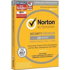 Symantec Norton Security Premium - 10 Geräte - Abo für 1 Jahr - Box mit Keycard