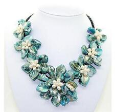 Fashion AAA Handmade Freshwater Pearl Blue Sea Shell Flower Leather Necklace 18""