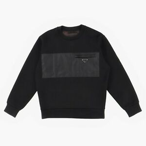 Prada Cotton and Nylon Panel Logo Sweatshirt   Size S Relaxed fit SS20 RRP $945
