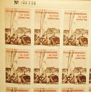 FESTIVAL CANNES 1946  -  50 VIGNETTES - PLANCHE NEUVE - RARE