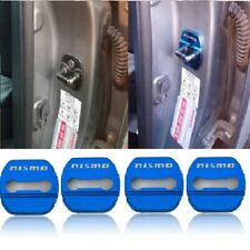 4Pcs Nismo Blue Stainless Steel Car Door Lock Protective Cover Case Sticker