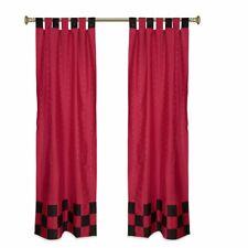 2 Eclectic Red Indian Sari Curtains Tab Top Curtain drapes
