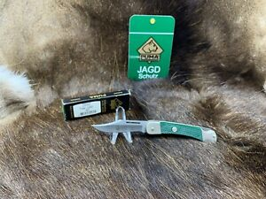 """2009 Puma Cadet 3 3/4"""" Knife With Green Checkered Handles Mint In Box  P23"""