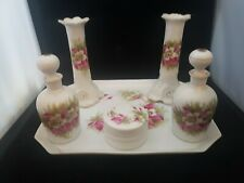 VICTORIAN DRESSING TABLE SET CANDLE STICKS POTS AND PERFUME BOTTLES