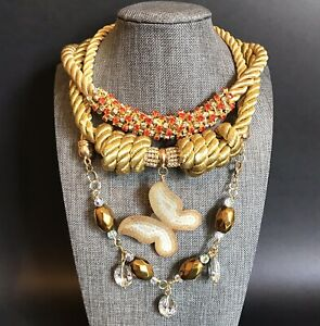 New HANDMADE Necklaces LOT Gold Braided Cord Butterfly Rhinestone Woman Jewelry