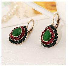 Vintage Bohemian Boho Style Multicolor Round Ethnic Women Clip-on Earrings