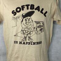 Vintage Softball Is Happiness T Shirt Sz S Short Sleeve USA Made Tan 80s 90s Men