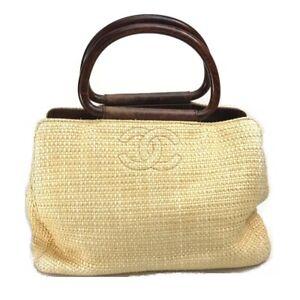 CHANEL A14203 CC Mark Wood handle Tote Bag Hand Bag Raffia/Wood Natural×Brown