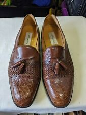 Mezlan Platinum Genuine Crocodile Brown Tassel Loafers Size 12