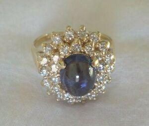 Estate 14k Yellow Gold Tanzanite Diamond Halo Ring - 5.8 gms, Size 6.75, 2.40 ct