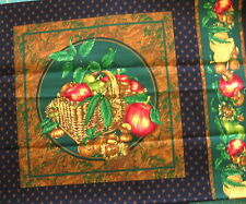 "18"" Pillow/Quilt Block Panel Basket of Apples on Green, Marbled Frame, Makes 4"