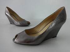 """Women shoes size 4 Clarks leather pearlescent gold ladies peep 3"""" wedge heels"""