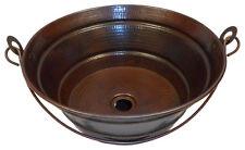 "15"" Round Copper BUCKET Vessel Bath Sink with Handle"