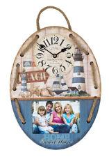 Fotouhr 06 aus Holz in Blau 29,5x39,5 cm für 1 Foto in 16x11 cm Foto Wand Uhr