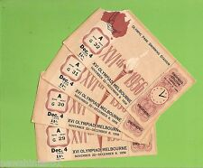 #D215. FOUR CONSECUTIVE SEAT TICKETS FOR SWIMMING, 1956 MELBOURNE OLYMPICS