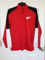 NHL Detroit Red Wings Mens Hockey Quarter Zip Up Pullover Size Medium 38/40