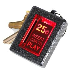 """New Wave Toys, Insert Coin Key Chain; Heavy Duty Diecast Metal;LED; Red; 2"""" Tall"""