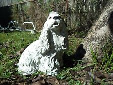 COCKER SPANIEL DOG CEMENT GARDEN STATUE Antiqued White, Painted Eyes and Nose