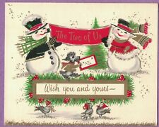 Vtg Mc Xmas Card Snowman Couple Holds Sign From The Two Of Us Poodle Birds