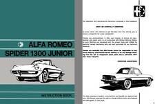 Alfa Romeo 1972 - Alfa Romeo Spider Junior 1300 Instruction Book