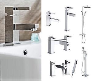 Square Lever Chrome Bathroom Taps, Basin Tap, Bath Filler & Bath Shower Mixer