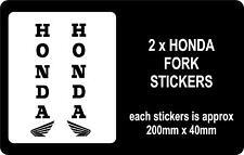 2 X HONDA MOTORBIKE FORK STICKERS / ANY COLOUR