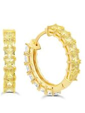 Authentic CRISLU Duo Hoop Earrings with Canary Yellow and Clear Stones, 22 mm