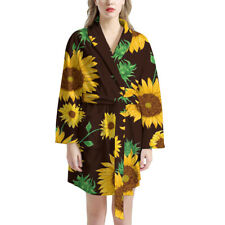 Sunflowers Lightweight Couple Long Robe Clothes Waffle Robes Absorbent Sleepwear