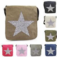 Ladies Sparkling Star Canvas Shoulder Bag Women's Crossbody Messenger Handbag UK