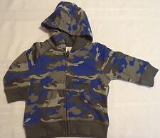 Gymboree King Of Cool 6-12 Month Blue Gray Camo Zip Front Hoodie Sweatshirt NWT