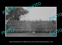 OLD LARGE HISTORIC PHOTO OF SOUTH AUSTRALIA BOER WAR IMPERIAL BUSHMAN CORPS 1901